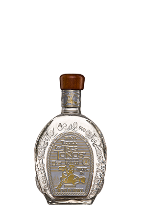 The front of the traditional Tequila Tres Toños Blanco bottle