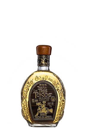 Traditional bottle of Tequila Tres Toños Reposado