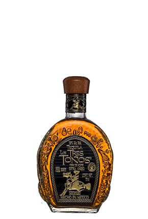 Tequila Tres Toños Extra Añejo with the traditional bottle