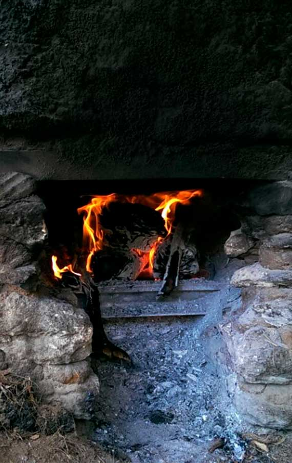 The fire is ready for the distillation process