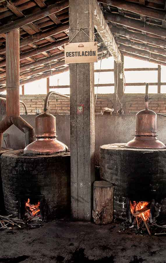 The distillation in the copper stills