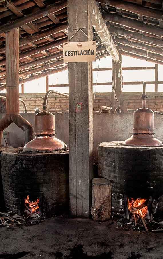 The distillation in the copper stills