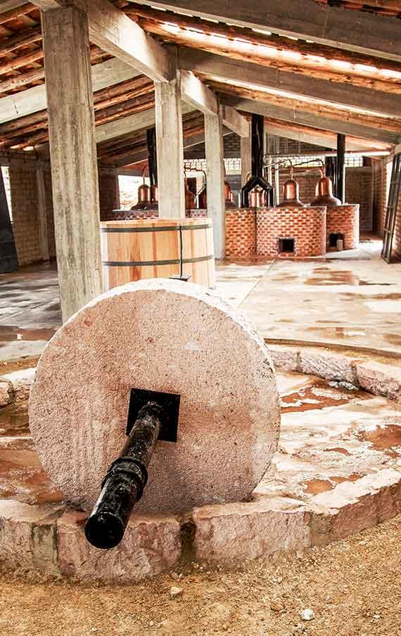 The tahona in the Montelobos distillery