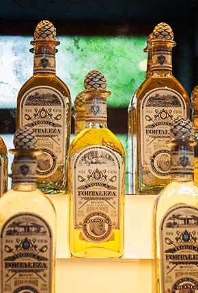 Tequila Fortaleza Reposado ath the back bar